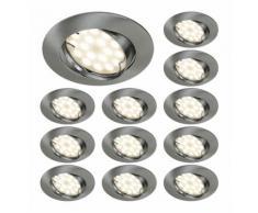 LOT DE 12 SPOT LED ENCASTRABLE COMPLETE ORIENTABLE ALU BROSSE AVEC AMPOULE GU10 230V eq. 50W, BLANC