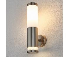 Applique d'extérieur Binka cylindrique moderne inox matériau synthétique blanc - LAMPENWELT