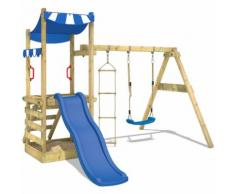 WICKEY Portique de jeux en bois FunFlyer Aire de jeux Cabane avec balançoire, bac à sable,
