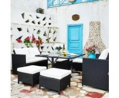 Nouméa Noir/Blanc : salon de jardin encastrable en résine tressée 8 personnes - CONCEPT-USINE