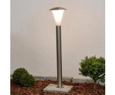 Borne lumineuse LED Arda inox matériau synthétique lampe extérieur élégante E27 - LAMPENWELT