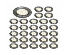 LOT DE 30 SPOT LED ENCASTRABLE COMPLETE RONDE FIXE ALU BROSSE eq. 50W - EUROBRYTE