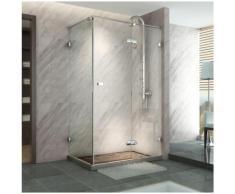 Paroi de douche avec porte pivotante, rectangulaire, verre trempé, verre de sécurité 8mm,