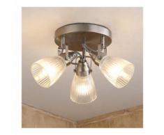 Plafonnier LED Kara LED G9 plafonnier rond salle de bain verre rainuré - LAMPENWELT