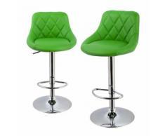 Lot de 2 tabourets de bar confortable simili-cuir vert - DéCOSHOP26
