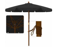 Parasol en bois Ø 350cm Jardin Extérieur Système à corde 100% Polyester - Noir - DEUBA