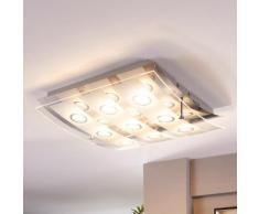 Plafonnier LED Joicy Verre Satiné LED Lumineux Puissant Entrée - LAMPENWELT
