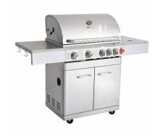 Barbecue à gaz inox de haute qualité PHENIX - 4 brûleurs plus 1 feu latéral avec tablettes
