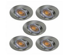 LOT DE 5 SPOT LED RONDE ALU BROSSE 230V COB LED 5W RENDU 50W BLANC CHAUD - LAMPESECOENERGIE