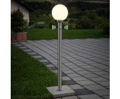 Borne lumineuse Vedran détecteur de mouvement inox sphère blanc verre capteur - LAMPENWELT