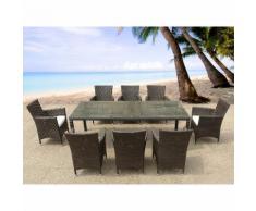 Table de jardin en rotin 220 cm - 8 chaises en rotin - coussins beiges - Italy - BELIANI