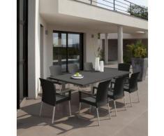 "GROSFILLEX - Salon de jardin ""Ineo"" Anthracite + 8 fauteuils INEO anthracite"