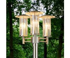 Lampadaire Filko inox trois lampes candélabre luminaire d'extérieur jardin E27 - LAMPENWELT