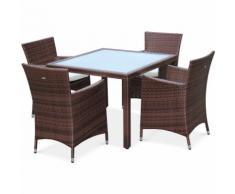 Salon de jardin en résine tressée chocolat, 4 fauteuils, table 100cm, structure en aluminium,