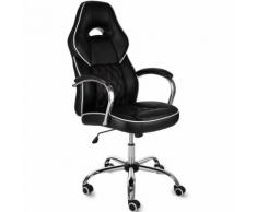 Chaise de bureau fauteuil pc ordinateur race similicuir ajustable - noir - DEUBA