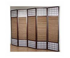 Paravent 5 panneaux marron en bois et bambou 220x175 cm - DéCOSHOP26