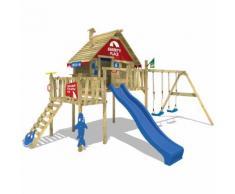 WICKEY Aire de jeux Smart Resort Portique bois avec balançoire, toit en bois, echelle à grimper,