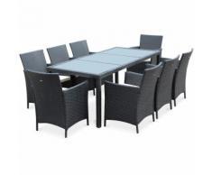 Salon de jardin Tavola 8 Noir en résine tressée, table d'extérieur 195cm avec 8 fauteuils