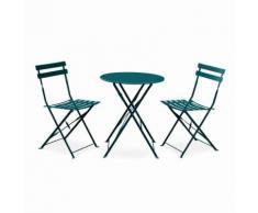 Salon de jardin bistrot pliable Emilia rond bleu canard, table Ø60cm avec 2 chaises pliantes, acier