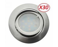 Lot de 30 Spot Led Encastrable Complete Satin Orientable lumière Blanc Neutre eq. 50W