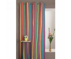 Rideau 100% Coton 140 x 250 cm Motif Rayures Multicolores Chambre Enfant Violet - RIDEAUDISCOUNT