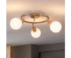 Plafonnier Svenka Aspect bois 3 lampes Cuisine LED E14 - LAMPENWELT