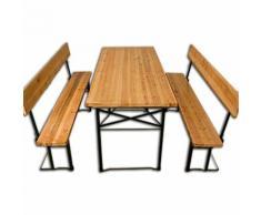 Table pliable et 2x bancs avec dossier Salon jardin meuble terrasse 180x70x76 cm - DEUBA