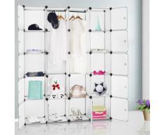 Etagère armoire plastique transparent 20 casiers 1000L Penderie Rangement - DEUBA