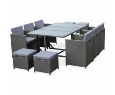 Salon de jardin Cubo Gris table en résine tressée 6 à 10 places, fauteuils encastrables