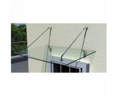 Auvent de porte 120X90 cm terrasse Marquise verre sécurité transparent - MONMOBILIERDESIGN
