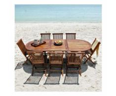 Salon de jardin teck en bois de teck huilé 8/10 pers Table larg 100cm + 8 chaises
