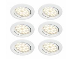 LOT DE 6 SPOT LED ENCASTRABLE COMPLETE ORIENTABLE BLANC AVEC AMPOULE GU10 230V eq. 50W, BLANC CHAUD