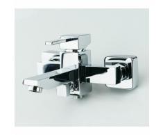 Mitigeur bain/douche chromé, robinet mitigeur salle de bain design en laiton et zinc, montage