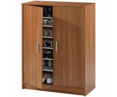 Armoire à chaussures ADEL avec 2 portes et 6 étageres ( 30 paires ), coloris châtaignier clair -