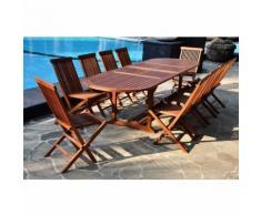 Lubok: Salon de jardin Teck huilé 12/14 pers - Table ovale + 10 chaises - CONCEPT-USINE