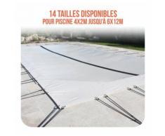 Bâche d'hivernage PVC beige 580g/m² pour piscine 4m x 7m - LINXOR