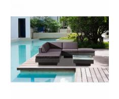 Amorgos gris : salon de jardin d'angle en résine 4 fils tressée noire poly rottin - CONCEPT-USINE
