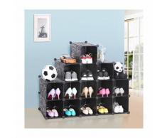 Songmics Armoire/Etagère de rangement à chaussures en plastique Noire imprimée 4 x 4 Cubes 92,5 x