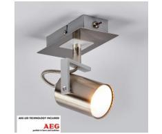 Projecteur LED Morea Spot LED Applique Plafonnier Nickel Satiné - LAMPENWELT