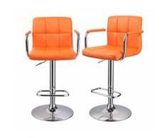 Lot de 2 tabourets de bar ergonomique simili-cuir hauteur réglable orange - DéCOSHOP26