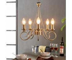Lustre Marnia 5 lampes Salon Salle à manger Laiton ancien Eclairage - LAMPENWELT
