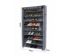 Songmics XXL Armoire / étagères à chaussures 10 couches avec housse Gris 88 x 28 x 160cm RXJ36G