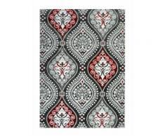 BAHIA Tapis de salon 120x170 cm noir, rouge et gris