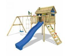 WICKEY Portique de jeux en bois Smart Plaza Aire de jeux avec toboggan bleu, balançoire et échelle