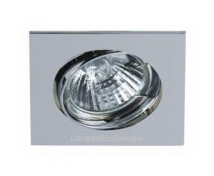 Support encastrable carré pour ampoule spot halogènes, CFL ou LED de 50W Max Couleur Chrome