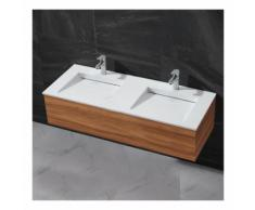 Lavabo double vasque à poser - Solid surface Blanc mat - 120x50 cm - Duo - RUE DU BAIN