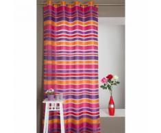 Voilage Multicolore 140 x 240 cm à Rayures Horizontales à Oeillets Rouge - RIDEAUDISCOUNT