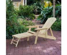 Fauteuil de jardin Adirondack chaise longue inclinable dossier réglable repose-pieds pliable bois