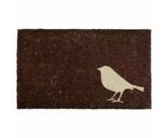 Tapis en fibres de coco motif Oiseau Marron - ESSCHERT DESIGN