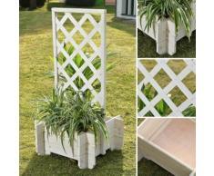 Bac à fleurs avec Treillage 50 x50 x100 WHITE - ZOOPET